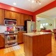 Red modern new kitchen with beautiful wood. — Stock Photo #7898935