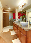 New modern brown bathroom with round sinks. — Stock Photo