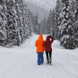Royalty-Free Stock Photo: Couple walking mountain winter snow covered road.