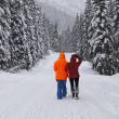Couple walking mountain winter snow covered road. — Stock Photo