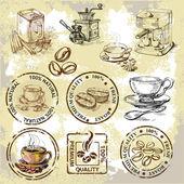 Vector elementi caffè — Vettoriale Stock