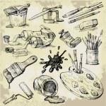 Set of Hand Drawn Artist's Stuff — Stock Vector #7088018
