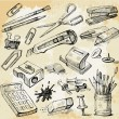 Some Office Stuff Hand Drawn — Stock Vector