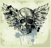 Grunge vintage skull emblem — Stock Vector