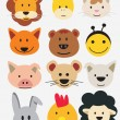 Vector illustration of animal faces. — Stock Vector #7444240