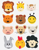 Vector illustration of animal faces. — Stock Vector