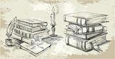 Books stack — Stock Vector