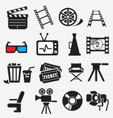 Conjunto de iconos de la película — Vector de stock