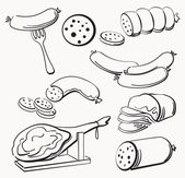 Meat elements set — Stock Vector