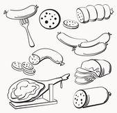 Meat elements set — Stock Vector
