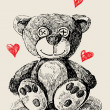 Hand drawn teddy bear - Stock Vector
