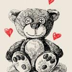 Hand drawn teddy bear — Stock Vector