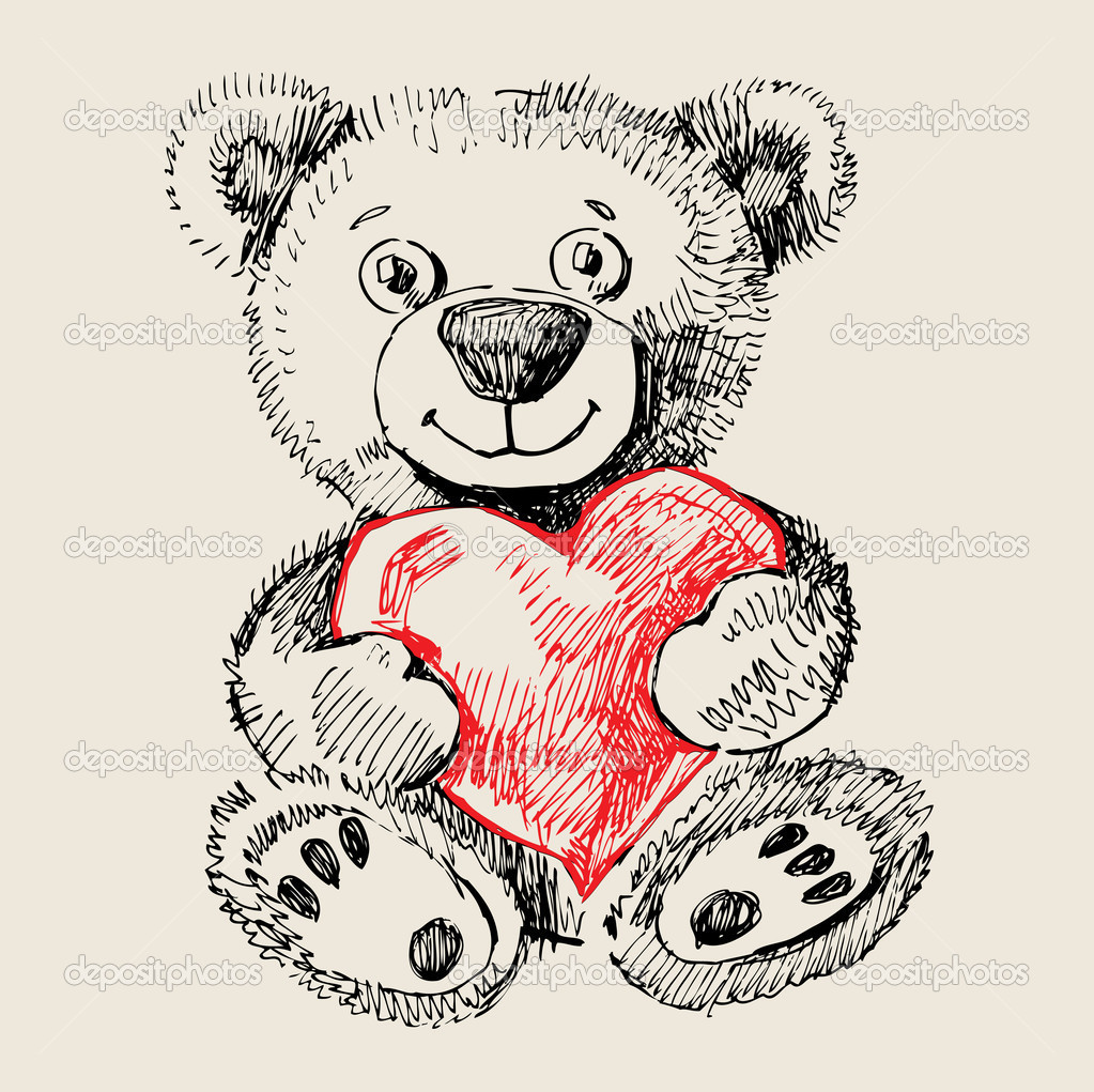 Teddy bear with heart drawing