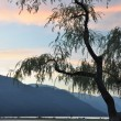 scena notturna di harrison hot springs vista lago — Foto Stock