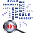 Magnifying glass sale poster — Stock Photo