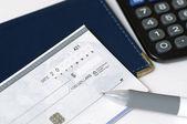 Prepare to write a check — Stock Photo