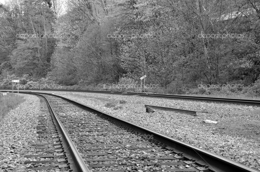Macro railroad track with black and white color  Stock Photo #6814691