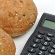 Stock Photo: Calculating bread calories