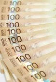 Canadian one hundred dollar bills — Stock Photo
