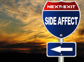 Side affect road sign — Stockfoto