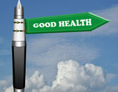 Good health fountain pen road sign — Stock Photo