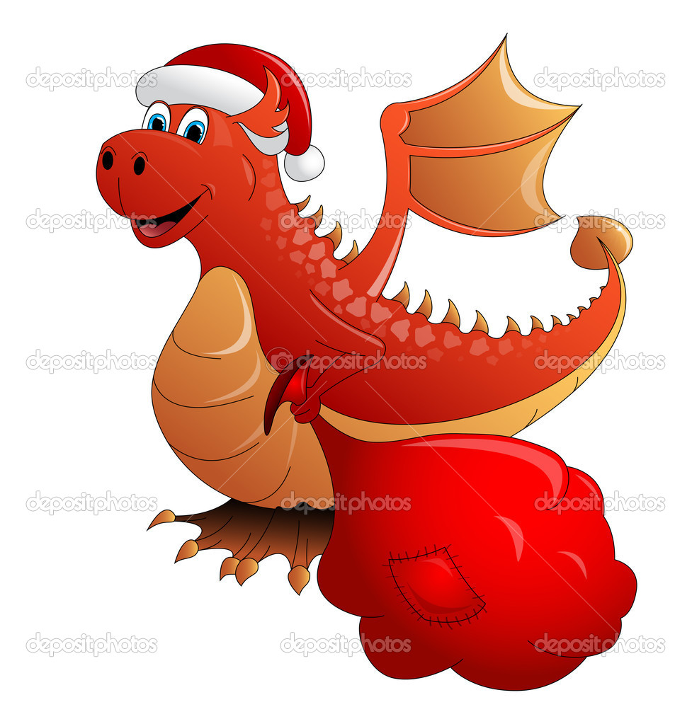 Red Fire dragon a symbol of new 2012 — Stock Vector #7350845