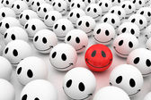 Isolated glossy 3d standard smiling smileys — Stock Photo
