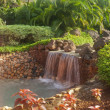 Stock Photo: Small waterfall in tropical garden
