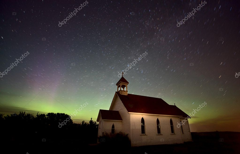 Night Church Northern Lights Saskatchewan Canada Aurora Borealis — Stock Photo #6927031