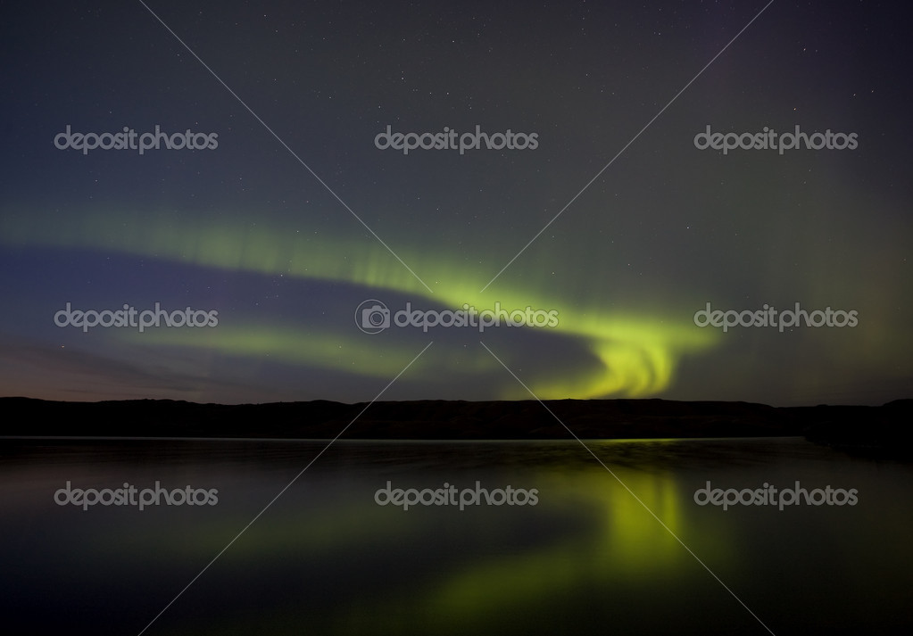 Northern Lights Saskatchewan Canada Aurora Borealis lake  Stock Photo #6927595