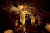 Huge stalagtites and columns in a cave — Stock Photo