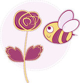 Pink rose with bee — Stock Vector