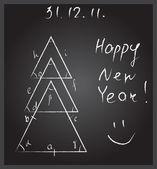 Christmas tree made of triangles, school blackboard — Stock Vector