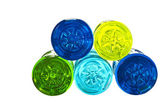 Backside of colorful water bottles — Stock Photo