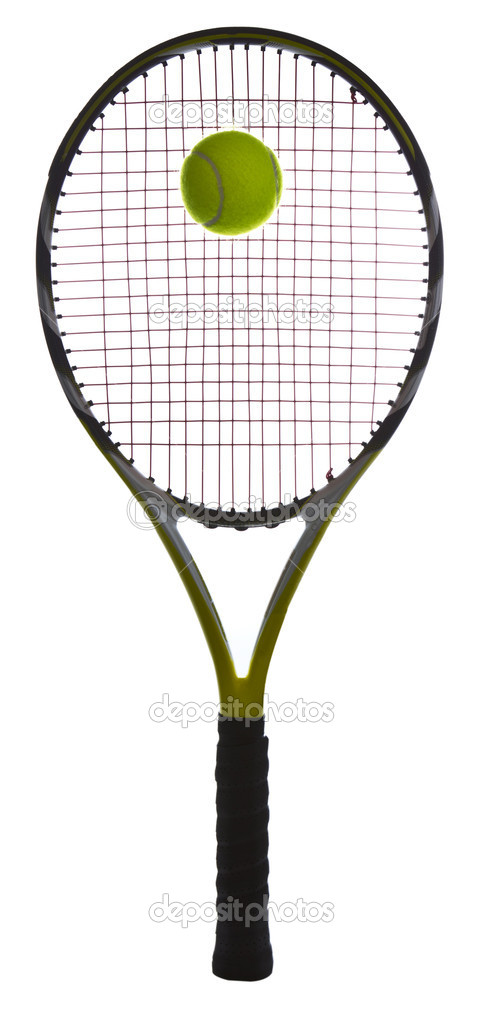 Complete tennis racket and ball on white background  Stock Photo #7486888
