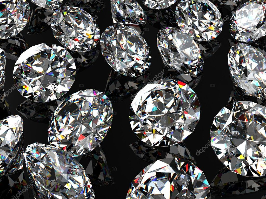 Diamonds on the black glossy surface — Stock Photo #7335472