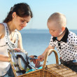 Stock Photo: Picnic near sea