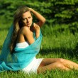 Woman on the grass — Foto de Stock
