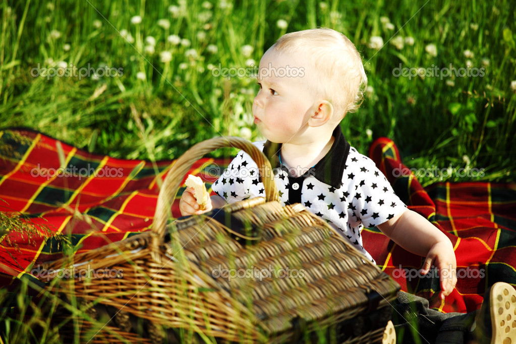 picnic on green grass boy and basket — Stock Photo #6752982