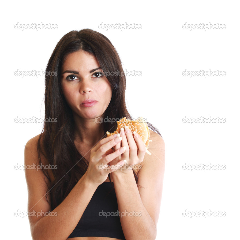 Woman eat burger isolated on white background  Stock Photo #6753401