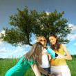 Girlfriends on picnic — Stock Photo