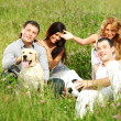 Friends and dog — Stock Photo #6845855