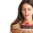 Woman and cake — Stock Photo #6849911