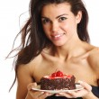 Woman and cake — Stock Photo #6849920