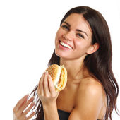 Woman eat burger — Stock Photo