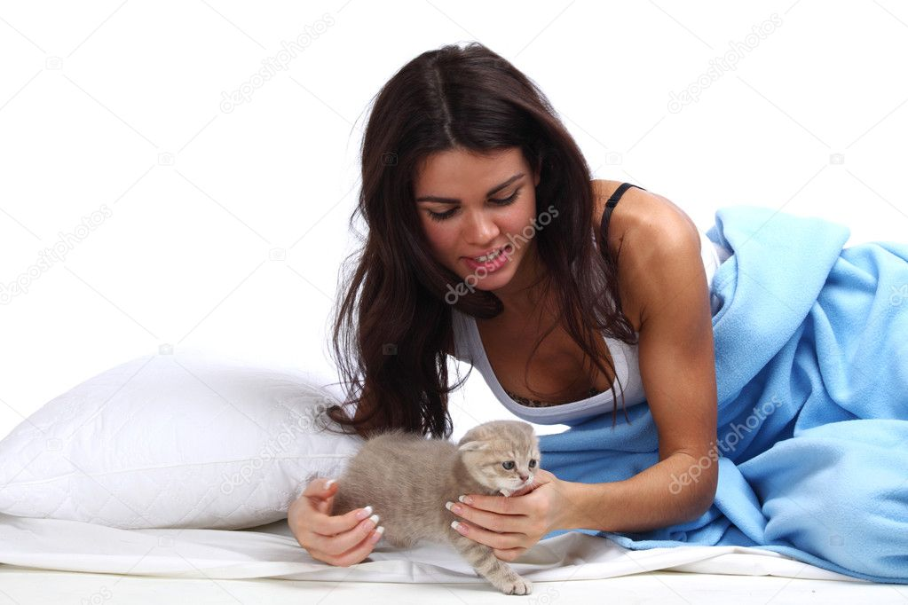 Waking woman on the white pillow — Stock Photo #6850061
