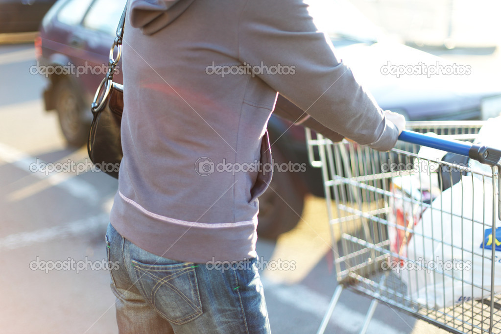 Take cart in hands go shoping — Foto Stock #6881363