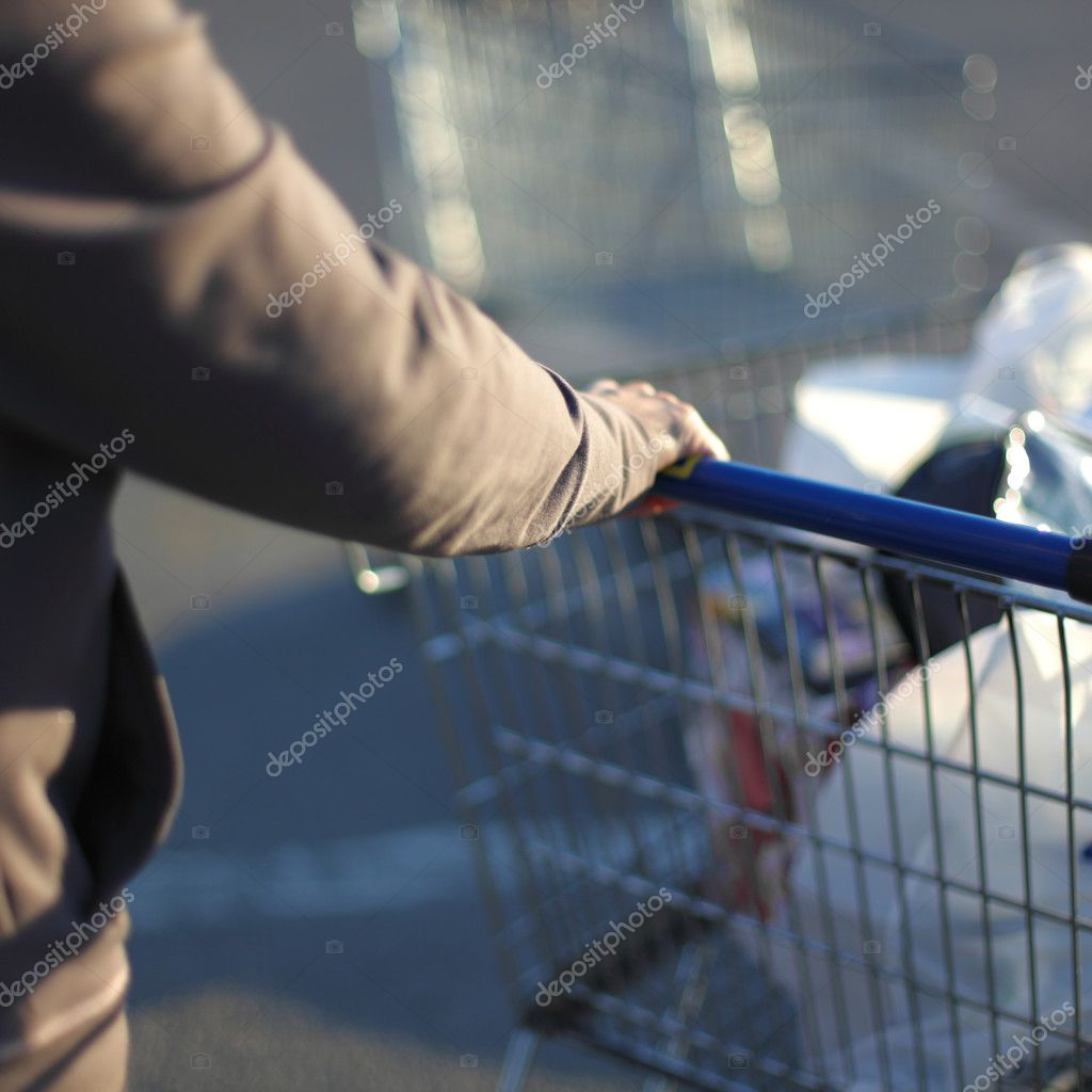 Take cart in hands go shoping — Stock Photo #6881368