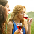 Girl drink wine — Stock Photo