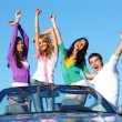 Stock Photo: Joy in cabriolet